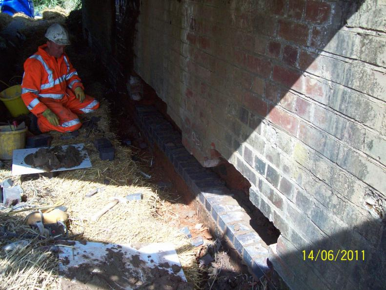 Brickwork Repairs to the face of the abutments