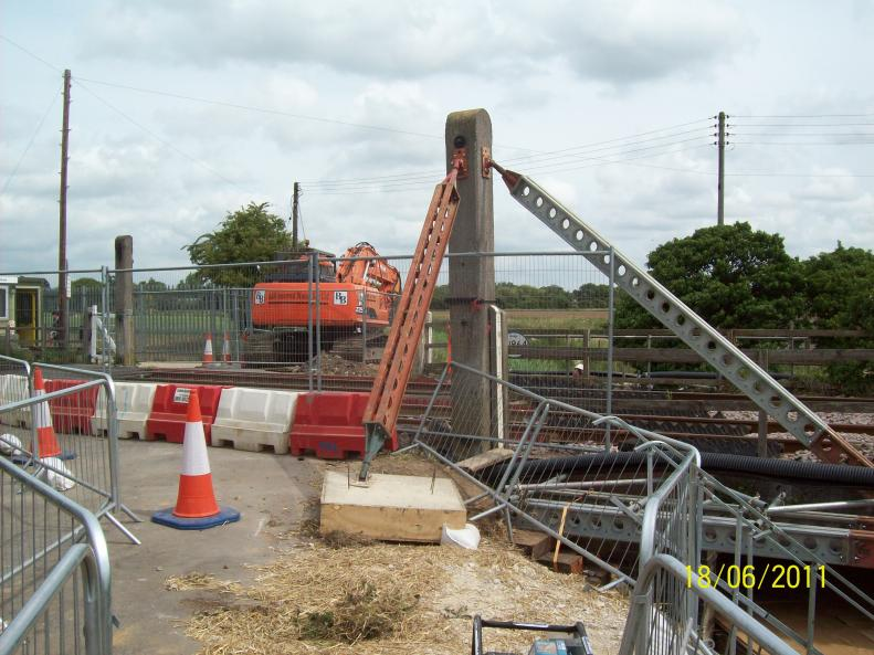 Demolition Plant on site + Temporary works installed to the Gate Post