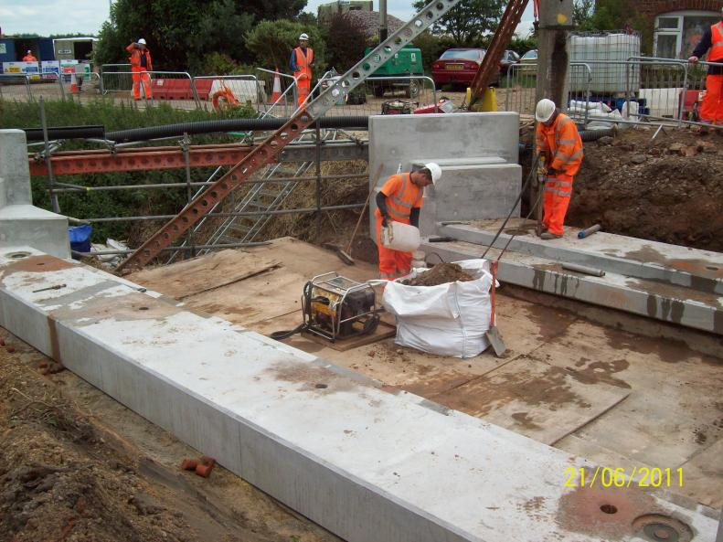 Impost Units set into place - Dowel Holes being cored ready for bars.