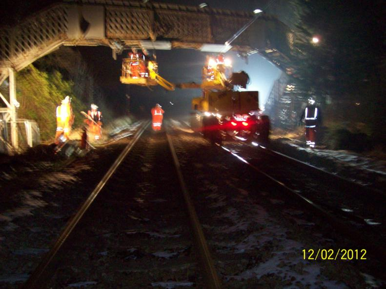 Border Rail carrying out OHLE removal from the bridge