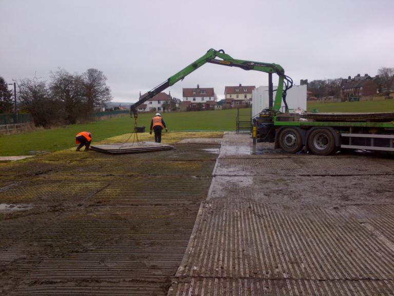 Eve Trackway bing removed from the site compound.