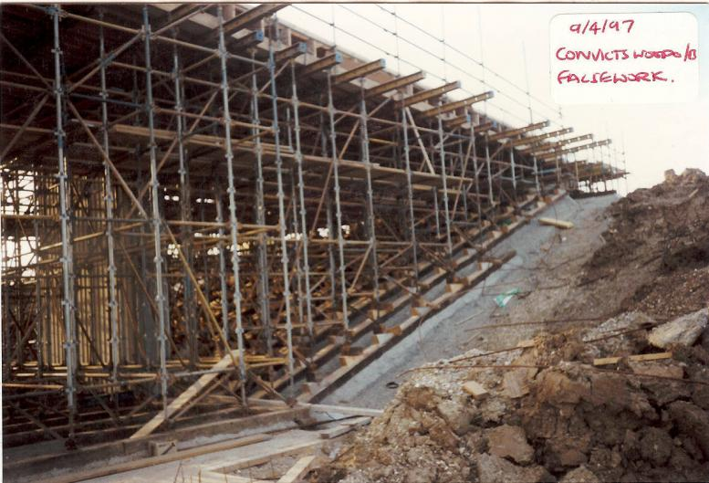 Scaffold Falsework support to the bridge deck.