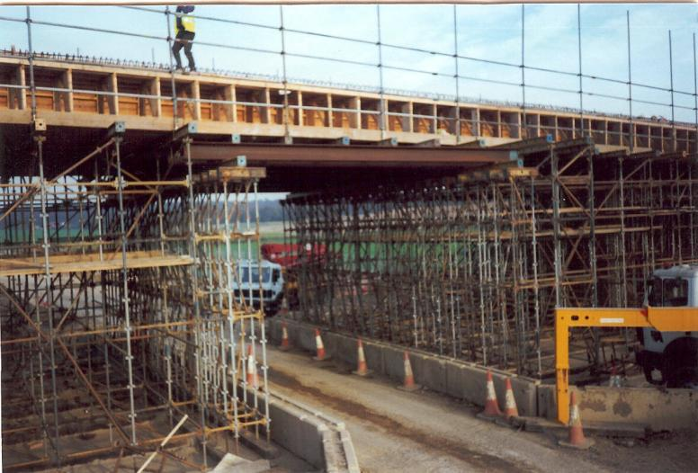 Beam carrying the falsework over the Haul road.