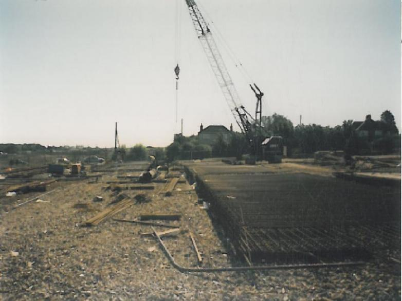 Steel being fixed to the pile cages.