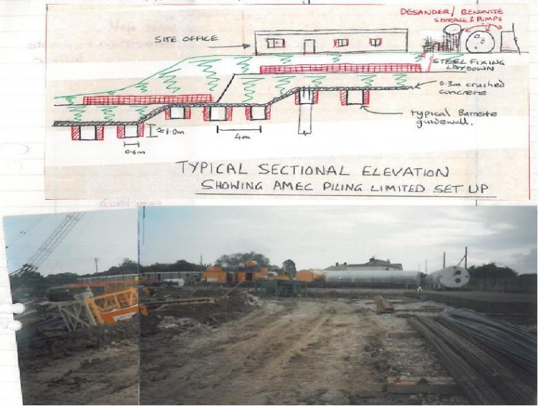 Section showing proposed + photo of as built layout