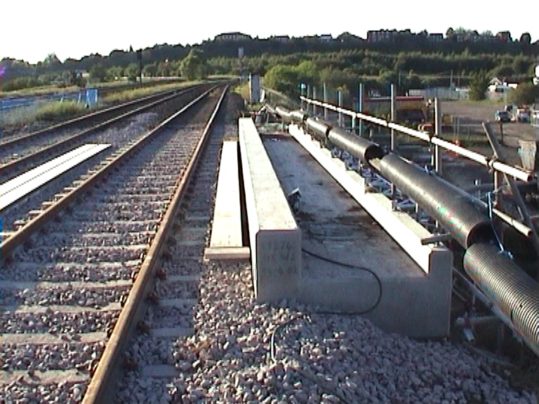 View on the bridge deck with track ballasted up.